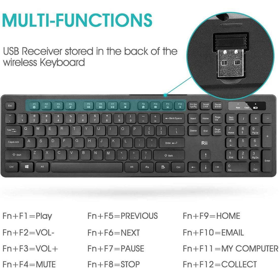 Rii RK102 draadloos toetsenbord en muis 2 in 1 set